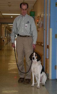 Bill and Belle, the therapy dog