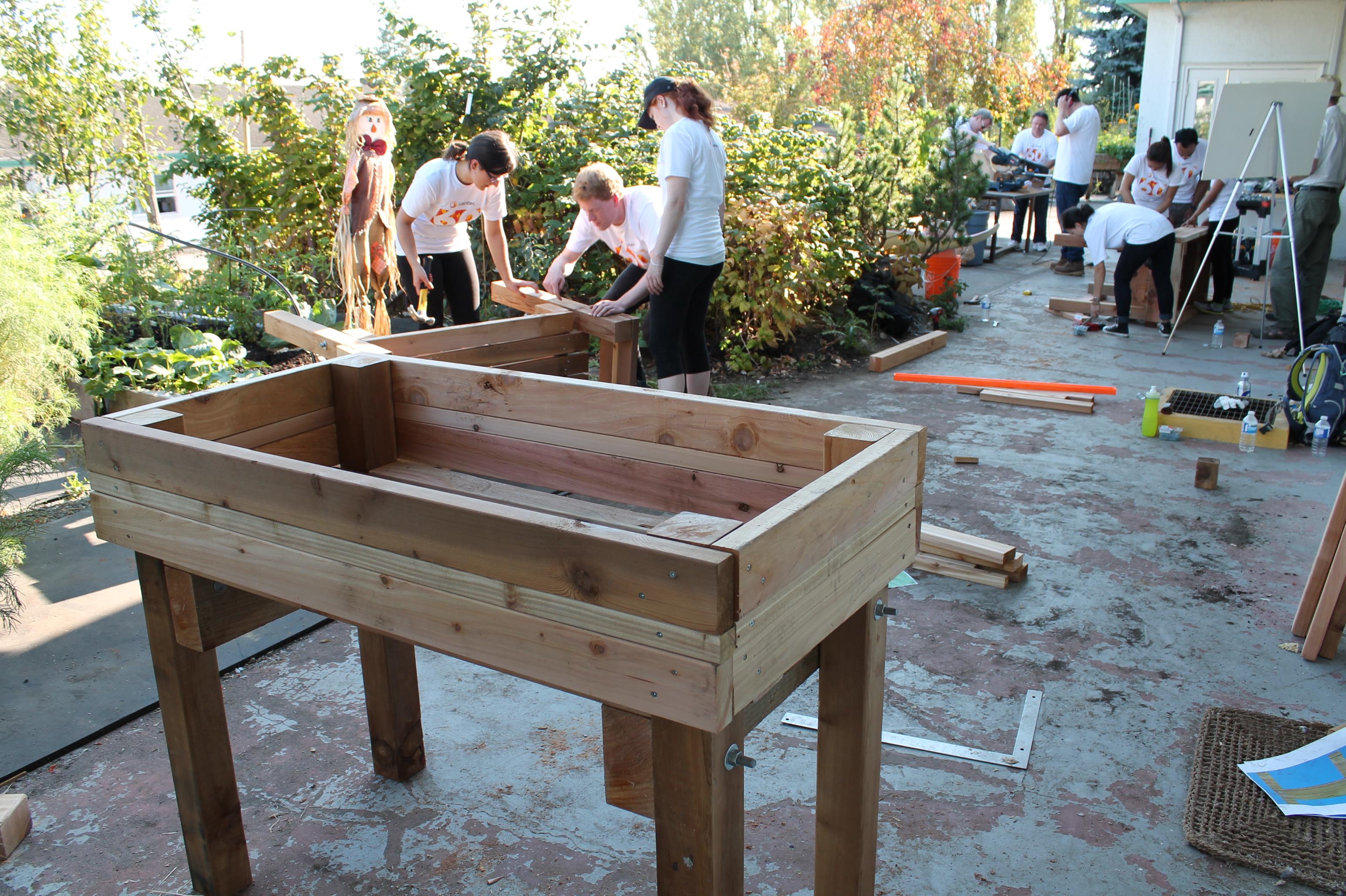 Stantec employees building tabletop garden beds