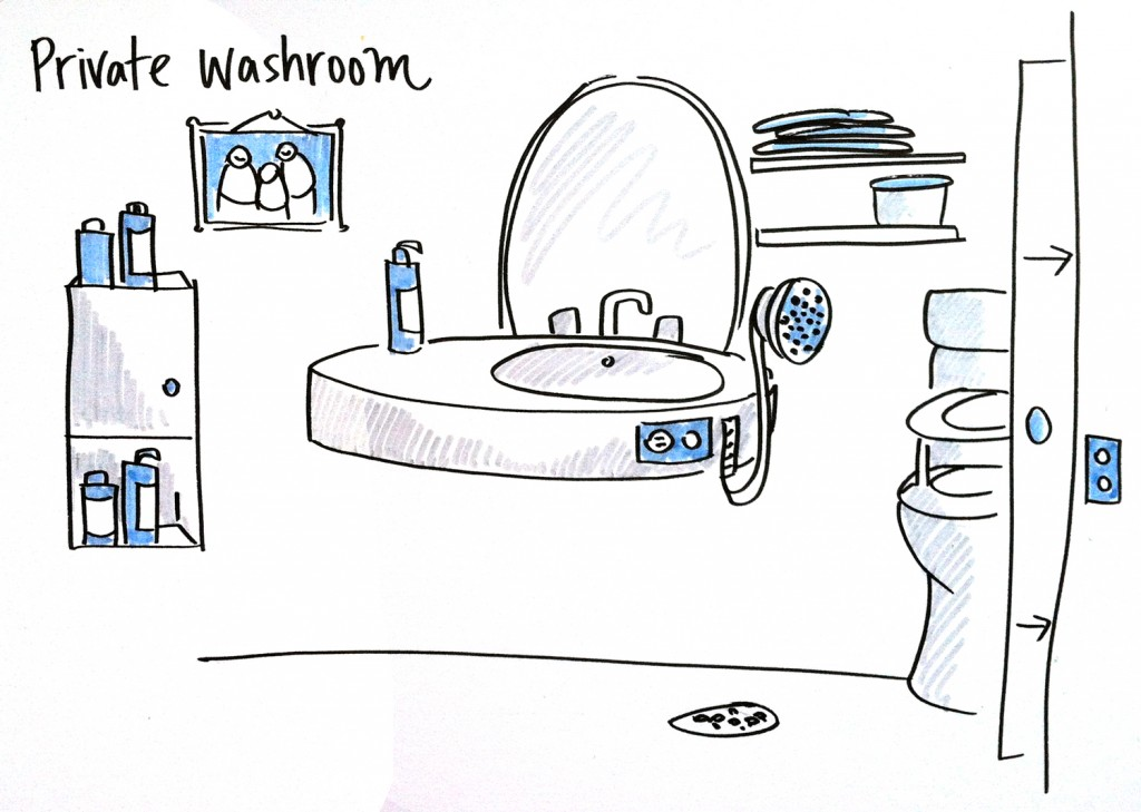 Pearson Redevelopment - Planning. This image is an illustration of an ideal washrooms for residents. The image is described in the paragraph below.